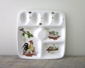 Vintage Ironstone Serving Platter Egg Plate with Rooster Design Hand Painted