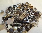 Vintage Jewelry Destash. 1.5 lbs  Cameo Collar Black White Silver Rhinestone Pearl Locket Roses Findings Destash Lot 17
