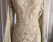 """RESERVED FOR """"L"""" vintage 70s mts 20s Soft Oatmeal Lace Hippie Boho Dress"""