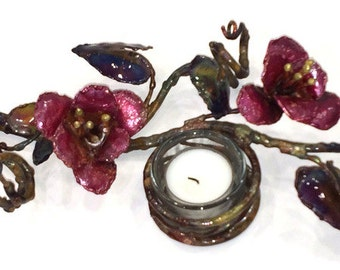 Copper lily and vine Candle