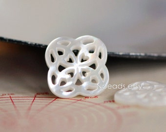 10pcs White Mother of Pearl Hollow Connector Charms 15mm -(V1217)