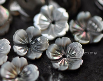 Black Mother of Pearl Flowers 10mm, Carved MOP Shell Flower Cabochons, Center Drilled Hole- (V1203)/ 10pcs