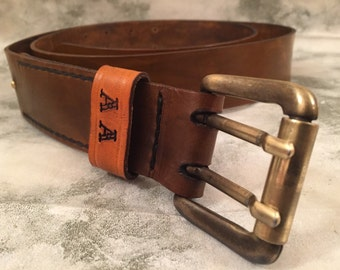 Personalized men's leather belt - distressed leather belt - vegetable tanned leather belt - men's leather belt - vintage leather belt