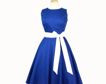 Classic Blue Full Circle Dress with Sash