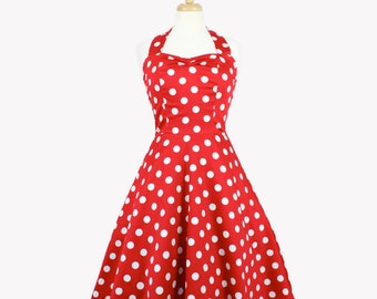 On Sale!!!Classic Red and White Polkadots  Pinup Dress