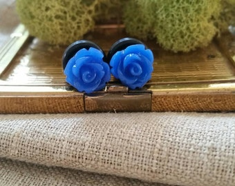 Bridal Plugs, Girly Plugs, Flower Plugs, Royal Blue, Roses