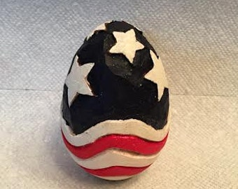 Stars & Stripes Wooden Egg Wood Carving Hand Carved Handmade Patriotic Decoration Wood Carvers of Etsy