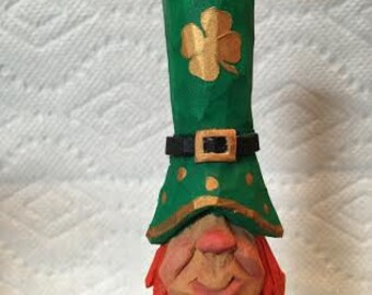 Small Leprechaun Ornament Wood Carving Christmas Tree Ornament St Patricks Day Decorations Decor Hand Carved Wood Ornament