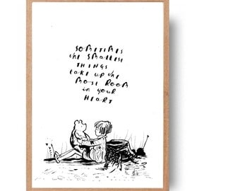 winnie the pooh and christopher robin drawing with cute quote - hand written, hand drawn pooh quote and illustration
