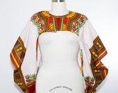 White Dashiki African Print Shrug - One Size