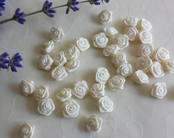 New Item -- 30 Pieces of Hand Made Ribbon Roses in Ivory Color -- 12 - 10 mm