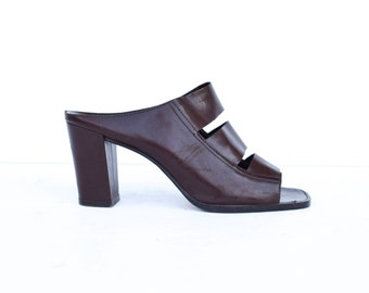 Vintage Minimalist 1990's Brown Leather Cut Out Slide Platforms Mules Sz 8.5 US 39 EU