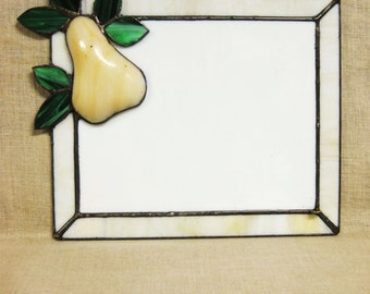 Note Board , Stain Glass , Pear , Fruit , Kitchen , Message Board , Glass , Handmade , Made By Hand , White Glass , Desk Accessories , Notes