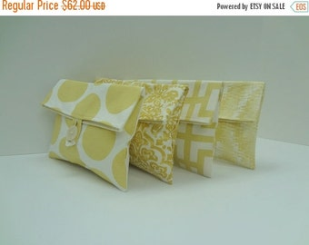 ON SALE Yellow Clutch Set of 4 Bridesmaid Clutches