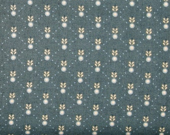 Tan and Blue Floral on Dark Teal 100% Cotton Quilt Fabric Blender, Kim Diehl Fabric, Welcome Wagon Collection, HEG6564-77
