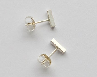 Nickel Free Sterling Silver Bar Earrings - Silver Square Bar Studs - Second Hole - Cartilage Earring - Minimal Silver Bars - Hook and Matter