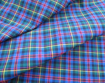 36w Vintage Black, Red, Green & Blue Woven Plaid Fabric 5.5 yards