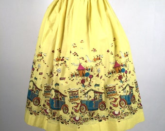 Vintage 1950s Skirt, Women's Novelty Print Skirt, Yellow, Fuschia, Mustard, Blue, Black, Watermelon Contest, Millworth, State Fair, W 32
