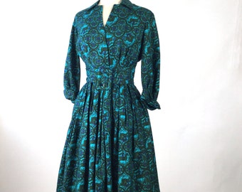 Vintage 1960s Dress, Women's Belted Day Dress, Teal, Turquoise, Green, Blue, Horse & Rider, Arabesque, Novelty Print, Cotton, Suzy Perette
