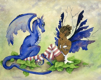 Fairy Art Original Watercolor Painting - 9x12 - Anya's Dragon - fantasy. whimsical. fairy tale. blue. pretty. mythology.