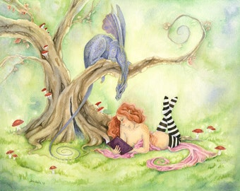 Fantasy Art Print - Watcha Reading - dragon. watercolor print. girl. book. whimsical. fairy tale. pink. tree.