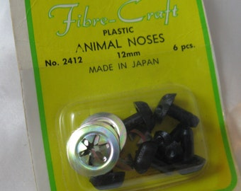 Vintage Black Plastic Animal Noses, Sealed in Pkg, Japan