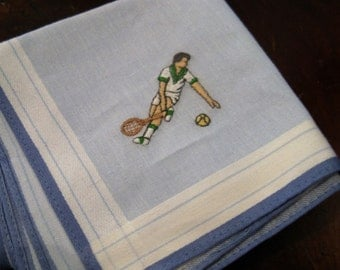"""Vintage 50s Embroidered Tennis Player Handkerchief, 16"""" Sqaire"""