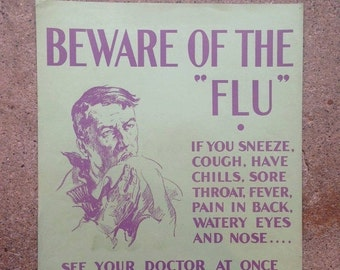 "ON SALE 40% OFF 1930's ""Flu"" Poster - Harold Cressingham - Original U.S. Depression era"