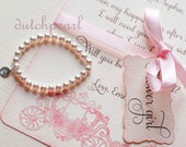 CARD and  PEARL BRACELET Will you be my Flower Girl invitation in gift box satin ribbon personalized pearl bracelet flowergirl - dutchpearl
