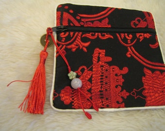 Natural Jade Charm and Pouch Bag with zipper