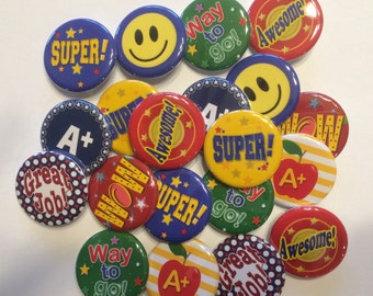 set of 20, 30 or 50 1.25 inch star student buttons