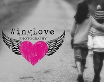 Wings logo design, heart logo design, photography logo, retro logo