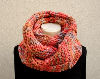 Infinity Scarf - Knitted Neckwarmer in shades of orange and pink -Handmade by T. Catana - Made to Order: 4-6 business days.