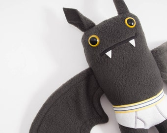 Flasher Bat! Handmade plush bat in tiny tighty whities....Custom stuffed animal...Yellow waist band