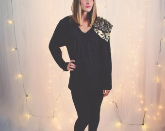 Loose Holiday Sweater Loose Fit Sweater Oversized Knit Top Oversized Boho Top Black Loose Sweater Holiday Tunic Women Oversize Sweater