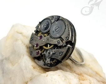 Size 9 to 11 Steampunk Ring, 15 Jewel Swiss Watch Movement on Handmade Silverfill Wire Adjustable Band ~ Steampunk Wedding ~ #R0099
