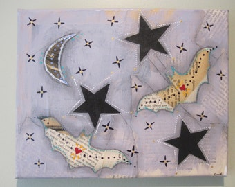 Starry night with bats collage, mixed media art, halloween decor