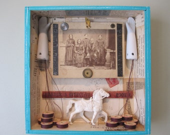Mixed media assemblage, shadow box, found object art, recycled home decor