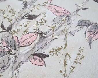 1940s 1950s Barkcloth - Pink and Gray Leaf Print - 2 Remnants Scraps
