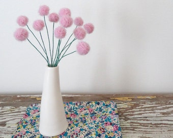 Pink Felt flowers.  Wool pom pom flowers.   Pompoms.  Faux flower bouquet.  Craspedia floral arrangement.  Felt balls.  Rose Quartz Pantone