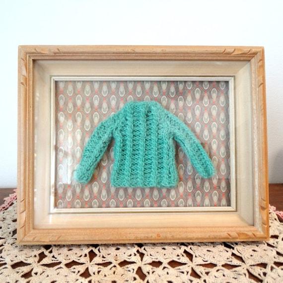 Framed Doll Shirt Barbie Sweater Art Blythe Mint Green