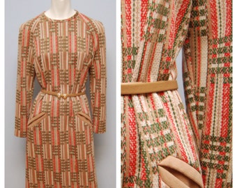 Vintage 1960's/1970's Retro Mod Belted Shift Dress Long Sleeve Midi Brown, Green and Red Plaid Pattern