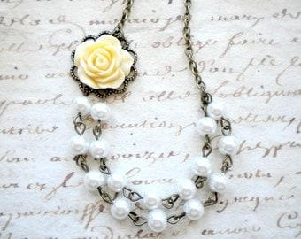 Flower Girl Necklace Flower Girl Pearl Jewelry Little Girl Necklace Flower Girl Gift Ivory Flower Necklace Rustic Wedding Jewelry For Girls
