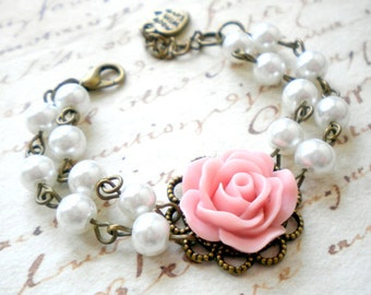 Flower Girl Gift Pink Bracelet Little Girl Jewelry Pastel Bracelet Flower Girl Bracelet Pearl And Flower Bracelet Wedding Child Gift