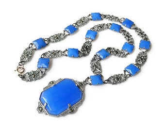 Art Deco Necklace, Chalcedony Glass, Silver Tone, Marcasite, Periwinkle Blue, Antique Jewelry