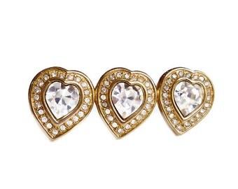 Swarovski Crystal Heart Brooch - Triple Hearts, Crystal Heart, Gold Plated, Swan Symbol, Sweetheart Pin, Vintage Jewelry