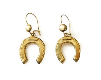 Victorian Earrings, 10K Gold, Horseshoe Charms, Dangle Drop, Good Luck Symbol, Antique Jewelry
