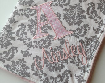 Personalized Baby Blanket- Personalized Nursery Blanket- Damask Baby Blanket- Minky Baby Blanket- Chevron Blanket