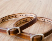 His and Hers  Pet Names Skinny Adjustable Leather Bracelet - Set of Two