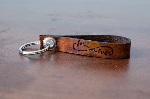 Forever Love Infinity Custom Leather Keychain with Personalized Date - Accessory, Anniversary Gift, Custom Keychain, Wedding Gift,